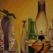 Lamp With Pop Bottles Poster