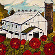 Lancaster Red Rose And Barn Poster by Paris Wyatt Llanso