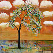 Landscape Art Scenic Tree Tangerine Sky Poster by Blenda Studio