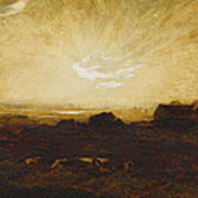 Landscape At Sunset Poster by Marie Auguste Emile Rene Menard