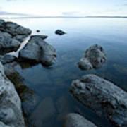 Landscape Of Rocks Along Shoreline Poster