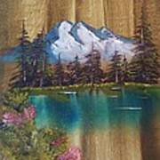 Landscape On Old Barn Siding Poster