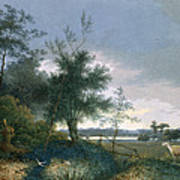 Landscape With A Fox Chasing Geese Poster
