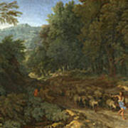 Landscape With A Shepherd And His Flock Poster