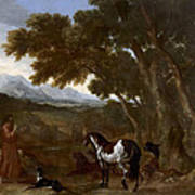 Landscape With Hermit Preaching To Animals Poster
