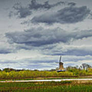 Landscape With The Dezwaan Dutch Windmill On Windmill Island In Holland Michigan Poster