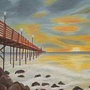 Landscapes Art - Sunset On The Rocks Oil Painting Poster
