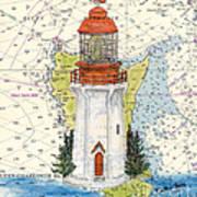 Langara Pt Lighthouse Bc Canada Nautical Chart Map Art Poster