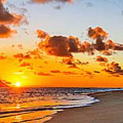 Lanikai Beach Orange Sunrise 3 To 1 Aspect Ratio Poster