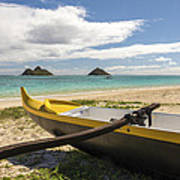 Lanikai Beach Outrigger 1 - Oahu Hawaii Poster by Brian Harig