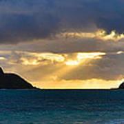 Lanikai Beach Sunrise Panorama 2 - Kailua Oahu Hawaii Poster