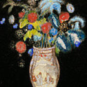 Large Bouquet On A Black Background Poster by Odilon Redon