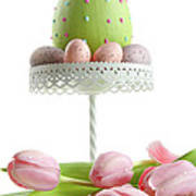Large Easter Egg With Pink Tulips  Poster