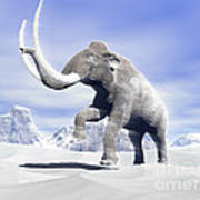 Large Mammoth Walking Slowly Poster by Elena Duvernay