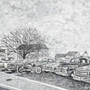 Larry Hill Vintage Car Lot Poster
