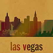 Las Vegas Skyline Watercolor On Parchment Poster