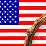 Lasso And American Flag Poster