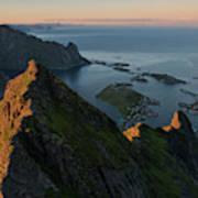 Last Light Illuminates Mountain Ridge Poster
