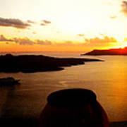 Late Sunset Santorini  Island Greece Poster