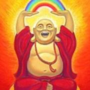 Laughing Rainbow Buddha Poster by Sue Halstenberg