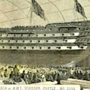 Launch Of Hms. Windsor Castle 140 Guns 1852 Poster