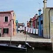 Laundry Day In Burano Poster