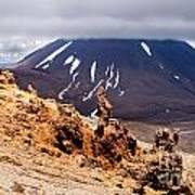 Lava Sculptures And Volcanoe Mount Ngauruhoe Nz Poster