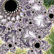 Lavender And Green Fractal Abstract  Poster