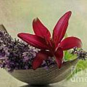Lavender Boat With Lilies Poster