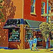 Le Fouvrac Foods Chocolates And Coffee Shop Corner Garnier And Laurier Montreal Street Scene Poster