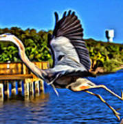 Leaping Egret Poster