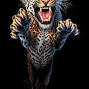 Leaping Leopard Poster