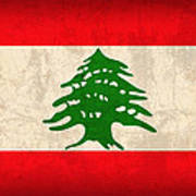Lebanon Flag Vintage Distressed Finish Poster