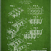 Lego Toy Building Brick Patent - Green Poster by Aged Pixel