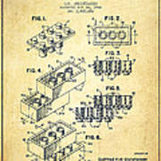 Lego Toy Building Brick Patent - Vintage Poster