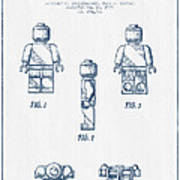 Lego Toy Figure Patent - Blue Ink Poster