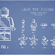 Lego Toy Figure Patent Drawing From 1979 - Light Blue Poster