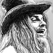Leon Russell Art Drawing Sketch Portrait Poster