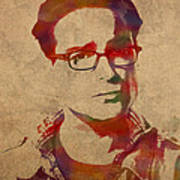 Leonard Hofstadter Watercolor Portrait Big Bang Theory On Distressed Worn Canvas Poster