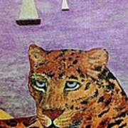 Leopard On The Water Poster