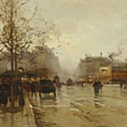 Les Boulevards Paris Poster by Eugene Galien-Laloue