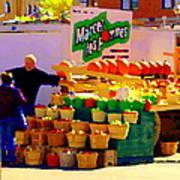Les Pommes Fruiterie Marcel Vert Pommes Red Apples Jean Talon  Market Scenes Carole Spandau  Poster