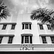 Leslie Hotel South Beach Miami Art Deco Detail - Black And White Poster by Ian Monk