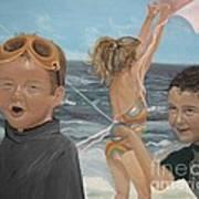 Beach - Children Playing - Kite Poster by Jan Dappen