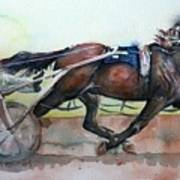 Racehorse Painting In Watercolor Let's Roll Poster