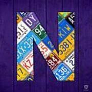 Letter N Alphabet Vintage License Plate Art Poster