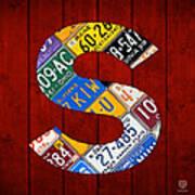 Letter S Alphabet Vintage License Plate Art Poster