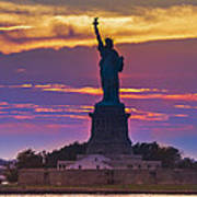 Liberty Statue Silhouette Sunset Poster