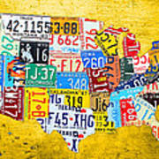 License Plate Art Map Of The United States On Yellow Board Poster by Design Turnpike
