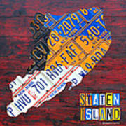 License Plate Map Of Staten Island New York Nyc Poster
